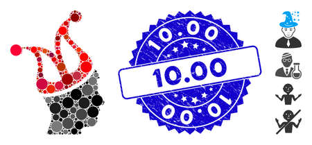 Mosaic joker guy icon and rubber stamp watermark with 10.00 caption. Mosaic vector is formed from joker guy pictogram and with random circle elements. 10.00 stamp uses blue color, and rubber texture. 일러스트