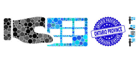 Mosaic timetable properties icon and corroded stamp seal with Ontario Province caption. Mosaic vector is composed with timetable properties icon and with scattered circle elements. 일러스트