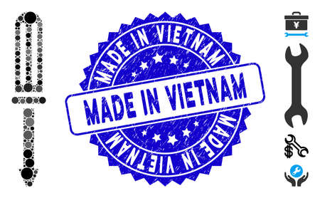 Mosaic screwdriver icon and grunge stamp watermark with Made in Vietnam text. Mosaic vector is designed with screwdriver icon and with random round items. Made in Vietnam stamp uses blue color, Vektoros illusztráció