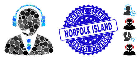 Mosaic support manager icon and distressed stamp seal with Norfolk Island phrase. Mosaic vector is designed from support manager icon and with scattered round elements.