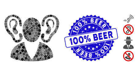 Mosaic listener icon and rubber stamp seal with 100% Beer text. Mosaic vector is composed with listener icon and with randomized round spots. 100% Beer seal uses blue color, and grunged surface.