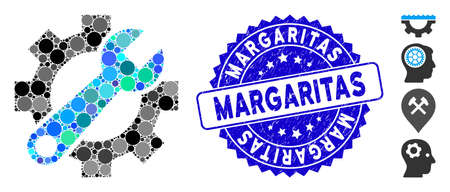 Mosaic service tools icon and corroded stamp watermark with Margaritas caption. Mosaic vector is formed with service tools icon and with random circle items. Margaritas stamp uses blue color, Banco de Imagens - 138276287