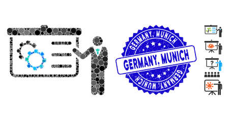 Mosaic presentation icon and grunge stamp seal with Germany, Munich text. Mosaic vector is composed with presentation icon and with randomized circle spots. Germany, Munich seal uses blue color,
