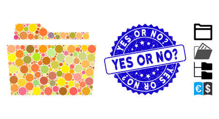 Mosaic folder icon and distressed stamp seal with Yes or No? phrase. Mosaic vector is composed from folder icon and with random spheric elements. Yes or No? stamp seal uses blue color,