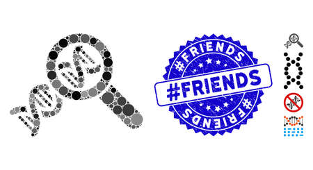 Mosaic genetics icon and corroded stamp seal with #Friends text. Mosaic vector is formed with genetics icon and with random circle items. #Friends seal uses blue color, and grunged design. Banco de Imagens - 138276538