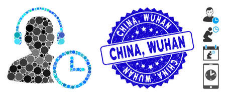 Mosaic operator time icon and distressed stamp watermark with China, Wuhan phrase. Mosaic vector is created with operator time icon and with random round elements. China,