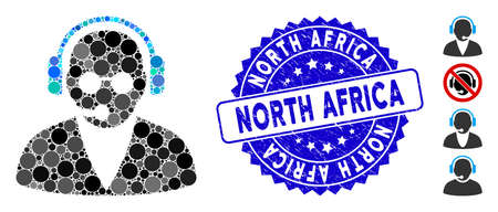Mosaic support operator icon and distressed stamp seal with North Africa caption. Mosaic vector is composed with support operator icon and with scattered spheric spots.