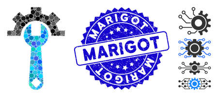 Mosaic service tools icon and grunge stamp seal with Marigot caption. Mosaic vector is formed with service tools icon and with random circle spots. Marigot stamp uses blue color, and distress surface.