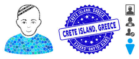 Mosaic patient icon and rubber stamp seal with Crete Island, Greece caption. Mosaic vector is composed with patient pictogram and with randomized circle elements. Crete Island,