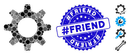Mosaic gearwheel icon and grunge stamp seal with #Friend phrase. Mosaic vector is designed with gearwheel icon and with random spheric spots. #Friend stamp seal uses blue color, and scratched surface.