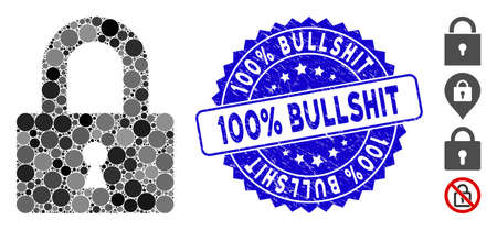 Mosaic lock icon and distressed stamp seal with 100% Bullshit caption. Mosaic vector is designed with lock icon and with scattered circle elements. 100% Bullshit stamp uses blue color,