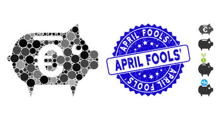 Mosaic Euro piggy bank icon and grunge stamp seal with April Fools text. Mosaic vector is formed with Euro piggy bank icon and with random spheric spots. April Fools seal uses blue color,