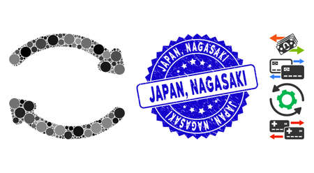 Mosaic refresh icon and distressed stamp watermark with Japan, Nagasaki caption. Mosaic vector is composed with refresh icon and with randomized circle items. Japan,  イラスト・ベクター素材