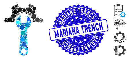 Mosaic service tools icon and distressed stamp seal with Mariana Trench caption. Mosaic vector is designed with service tools pictogram and with randomized spheric elements. Banco de Imagens - 138275452