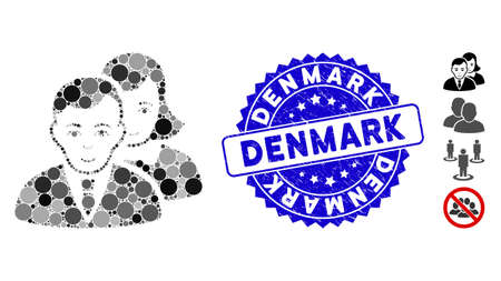 Collage people icon and rubber stamp seal with Denmark phrase. Mosaic vector is formed from people icon and with random circle elements. Denmark stamp seal uses blue color, and rubber surface.