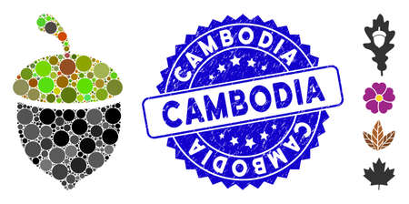 Mosaic oak acorn icon and corroded stamp seal with Cambodia caption. Mosaic vector is designed with oak acorn icon and with random spheric elements. Cambodia seal uses blue color, 向量圖像