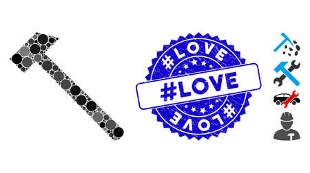 Mosaic hammer icon and corroded stamp seal with #Love caption. Mosaic vector is created from hammer icon and with randomized round items. #Love stamp seal uses blue color, and rubber texture. Stok Fotoğraf - 138283491