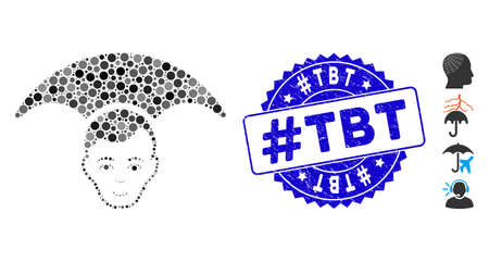Mosaic head umbrella icon and distressed stamp seal with #Tbt caption. Mosaic vector is formed with head umbrella icon and with randomized spheric elements. #Tbt stamp seal uses blue color,