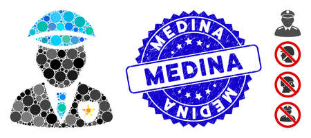 Mosaic sheriff icon and grunge stamp seal with Medina phrase. Mosaic vector is created from sheriff icon and with random spheric items. Medina stamp seal uses blue color, and rubber surface.