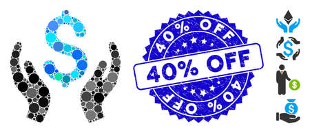 Mosaic money care hands icon and rubber stamp seal with 40% Off text. Mosaic vector is created with money care hands icon and with randomized round items. 40% Off stamp seal uses blue color,
