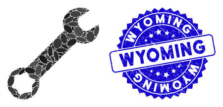 Mosaic wrench icon and distressed stamp seal with Wyoming caption. Mosaic vector is composed with wrench icon and with scattered oval items. Wyoming stamp uses blue color, and scratched texture. Banco de Imagens - 138286384