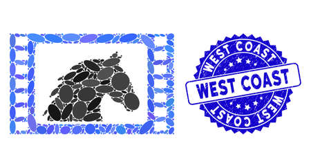 Mosaic western movie icon and corroded stamp seal with West Coast caption. Mosaic vector is designed from western movie icon and with randomized oval items. West Coast stamp seal uses blue color,