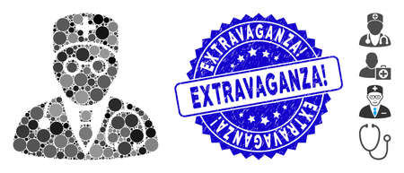 Mosaic physician icon and rubber stamp seal with Extravaganza! text. Mosaic vector is formed with physician icon and with randomized circle spots. Extravaganza! stamp uses blue color,