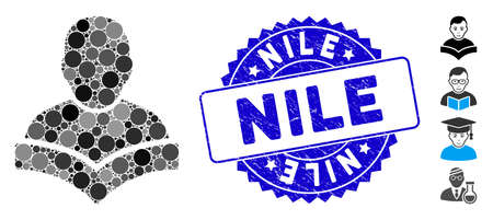Collage student icon and grunge stamp watermark with Nile text. Mosaic vector is designed with student icon and with random circle spots. Nile stamp seal uses blue color, and grunge texture. 向量圖像
