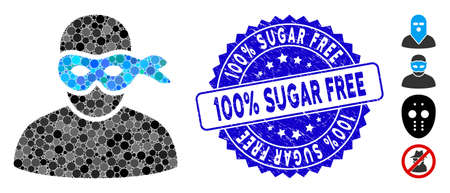 Mosaic masked thief icon and grunge stamp seal with 100% Sugar Free caption. Mosaic vector is composed from masked thief icon and with scattered spheric items. Illustration