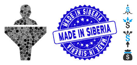 Collage sales funnel icon and grunge stamp seal with Made in Siberia caption. Mosaic vector is composed with sales funnel icon and with random circle items. Made in Siberia stamp seal uses blue color,