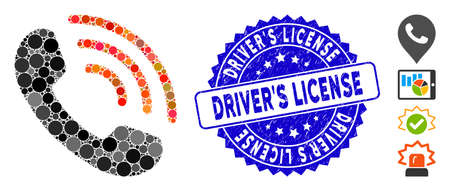 Collage phone call icon and corroded stamp seal with Driver'S License caption. Mosaic vector is formed with phone call icon and with scattered circle items.