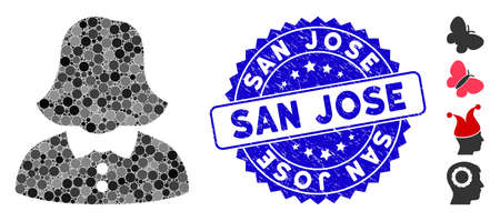 Collage woman icon and grunge stamp seal with San Jose phrase. Mosaic vector is designed with woman icon and with randomized circle elements. San Jose stamp seal uses blue color, and grunged design. 矢量图像