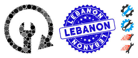 Collage repeat service icon and grunge stamp seal with Lebanon caption. Mosaic vector is formed with repeat service icon and with random circle items. Lebanon stamp seal uses blue color,