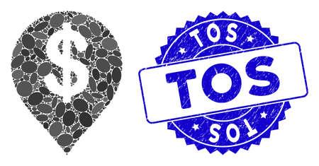 Mosaico dollaro americano icona marcatore e sigillo timbro grunge con frase Tos. Il vettore del mosaico è composto dal pittogramma dell'indicatore del dollaro americano e da macchie ellittiche sparse.