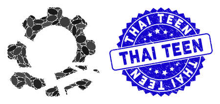 Mosaic gear destruction icon and distressed stamp seal with Thai Teen caption. Mosaic vector is created with gear destruction icon and with randomized oval spots. Thai Teen stamp uses blue color,