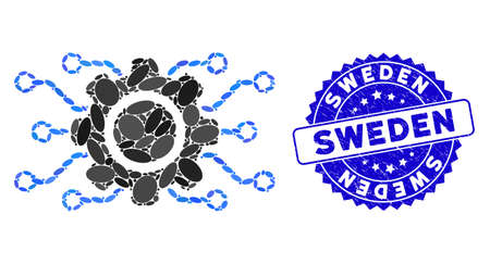 Mosaic electronic gearwheel icon and distressed stamp seal with Sweden phrase. Mosaic vector is created with electronic gearwheel icon and with randomized ellipse items. Sweden seal uses blue color,