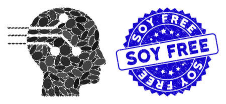 Mosaic brain interface icon and grunge stamp seal with Soy Free caption. Mosaic vector is created with brain interface pictogram and with randomized oval elements. Soy Free stamp seal uses blue color,