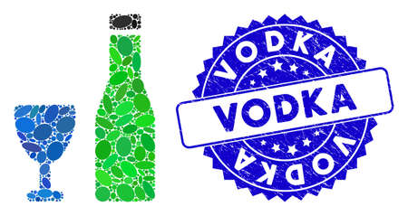 Mosaic alcohol icon and corroded stamp seal with Vodka caption. Mosaic vector is designed with alcohol pictogram and with randomized oval spots. Vodka stamp seal uses blue color, and distress design.