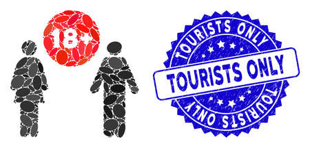 Mosaic for adults icon and distressed stamp seal with Tourists Only text. Mosaic vector is formed with for adults icon and with random elliptic items. Tourists Only stamp uses blue color, Ilustração
