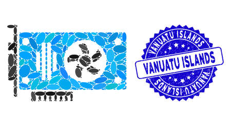 Mosaic videocard icon and distressed stamp seal with Vanuatu Islands phrase. Mosaic vector is formed with videocard icon and with scattered oval items. Vanuatu Islands seal uses blue color,