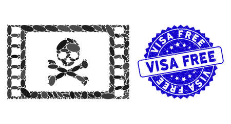 Mosaic stolen movie icon and rubber stamp seal with Visa Free phrase. Mosaic vector is designed with stolen movie pictogram and with scattered ellipse elements. Visa Free stamp seal uses blue color,