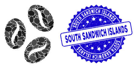 Mosaic coffee beans icon and corroded stamp seal with South Sandwich Islands caption. Mosaic vector is formed with coffee beans icon and with scattered oval spots.