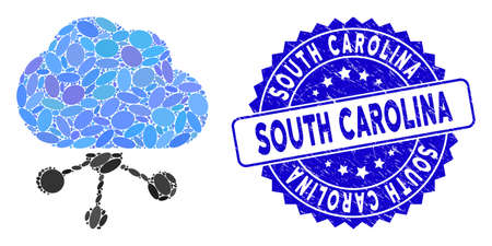 Mosaic cloud network icon and grunge stamp seal with South Carolina caption. Mosaic vector is designed with cloud network icon and with randomized elliptic spots. Ilustrace