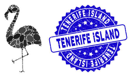Mosaic flamingo icon and rubber stamp seal with Tenerife Island caption. Mosaic vector is created from flamingo icon and with randomized elliptic elements. Tenerife Island stamp uses blue color,