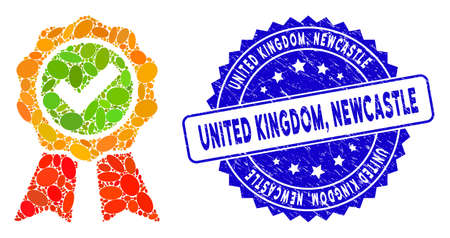Mosaic the best icon and corroded stamp watermark with United Kingdom, Newcastle caption. Mosaic vector is formed with the best icon and with randomized elliptic spots. United Kingdom, Иллюстрация