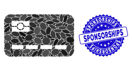 Mosaic credit card icon and grunge stamp watermark with Sponsorships text. Mosaic vector is formed from credit card icon and with randomized oval spots. Sponsorships stamp seal uses blue color,