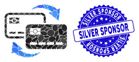 Mosaic bank card exchange icon and rubber stamp watermark with Silver Sponsor caption. Mosaic vector is designed with bank card exchange icon and with randomized elliptic items.
