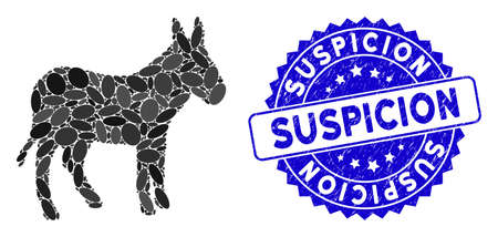 Mosaic donkey icon and distressed stamp watermark with Suspicion caption. Mosaic vector is designed with donkey icon and with scattered elliptic items. Suspicion stamp seal uses blue color,