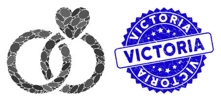 Mosaic wedding rings icon and corroded stamp watermark with Victoria text. Mosaic vector is formed from wedding rings icon and with scattered oval elements. Victoria stamp seal uses blue color, 向量圖像