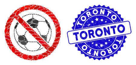Mosaic no football icon and corroded stamp seal with Toronto phrase. Mosaic vector is composed with no football icon and with randomized oval elements. Toronto stamp uses blue color,